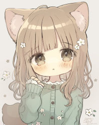 1girl, :o, ame usako, animal ear fluff, animal ears, banned artist, blush, brown eyes, brown hair, commentary request, flower, green jacket, grey background, hair flower, hair ornament, hairclip, hand up, jacket, long hair, long sleeves, looking at viewer, original, parted lips, signature, simple background, sleeves past wrists, solo, tail, twitter username, upper body, white flower, x hair ornament