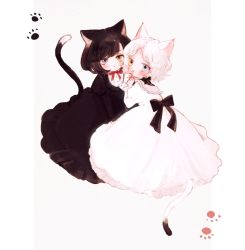 2girls, :<, :d, animal ear fluff, animal ears, back bow, bangs, black bow, black dress, black hair, blue eyes, blush, border, bow, cat ears, cat tail, clenched hands, closed mouth, collared dress, dot nose, dress, expressionless, frilled dress, frilled shirt collar, frilled sleeves, frills, from behind, from side, full body, grey background, hand to own mouth, hands up, heterochromia, juliet sleeves, long sleeves, looking at viewer, looking back, looking to the side, multiple girls, neck ribbon, open mouth, original, outside border, parted bangs, paw print, puffy sleeves, red neckwear, red ribbon, ribbon, short hair, simple background, sitting, smile, swept bangs, symbol commentary, tail, tail raised, tsurime, wavy hair, white border, white dress, white hair, yellow eyes, yujup