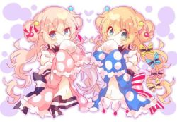 2girls, bangs, blonde hair, blue babydoll, blue eyes, blush, bow, character request, covering mouth, detached sleeves, double bun, hair between eyes, hair ornament, heart, hibi89, long hair, long sleeves, looking at viewer, merc storia, midriff, multiple girls, navel, pink babydoll, polka dot babydoll, sleeves past fingers, sleeves past wrists, striped, striped bow, upper body