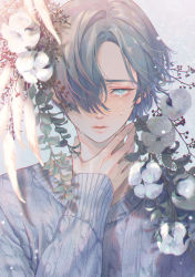 1boy, absurdres, arm at side, bishounen, cable knit, chromatic aberration, close-up, cotton boll, crying, fingernails, floating hair, frown, grey background, grey eyes, grey hair, grey sweater, hair over one eye, half-closed eyes, hand on own neck, hand up, highres, leaf, light blush, light particles, lips, looking at viewer, male focus, nolang, original, parted lips, plant, ribbed sweater, shadow, shiny, shiny hair, shiny lips, sidelighting, simple background, sleeves past wrists, straight hair, streaming tears, sweater, tearing up, tears, tsurime, upper body