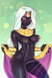 Rule 34 | 1girl, bbc-chan, black nightgown, black skin, breasts, cleft of venus, clitoris piercing, colored skin, commentary, contrapposto, duck dodgers, egyptian clothes, english commentary, eyeshadow, forehead jewel, gorget, headband, highres, long hair, looking at viewer, looney tunes, makeup, medium breasts, navel, nipple piercing, nipple rings, no mouth, open clothes, open skirt, perky breasts, piercing, pink eyeshadow, pinup (style), purple eyes, purple skirt, pussy peek, queen tyr'ahnee, see-through skirt, shiny, shiny skin, silver hair, skirt, solo, standing, teasing, thighs, toned, undressing, vambraces, w arms