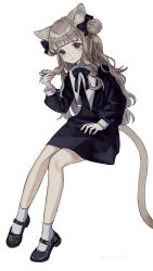 1girl, animal ear fluff, animal ears, black bow, black dress, black footwear, blush, bow, brown hair, cat ears, cat girl, cat tail, closed mouth, commentary request, double bun, dress, full body, grey eyes, hair bow, hand up, highres, kashiwagi chisame, long hair, long sleeves, making-of available, mole, mole under eye, original, puffy long sleeves, puffy sleeves, shoes, simple background, sitting, sleeves past wrists, socks, solo, tail, very long hair, white background, white legwear