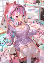 1girl, anchor symbol, animal ears, animal print, apex legends, armrest, blue hair, book, bottomless, breasts, cable, can, cat ears, cat hair ornament, cat paws, cat print, chair, commentary request, computer, controller, desk, desktop, energy drink, eyebrows visible through hair, figure, firefox, game controller, gamepad, gaming chair, hair ornament, headphones, headphones around neck, heart, heart print, highres, holding, holding controller, hololive, keyboard (computer), kirito, large breasts, long hair, looking at viewer, minato aqua, monitor, multicolored hair, neko (minato aqua), nintendo, nintendo switch, nintendo switch pro controller, paws, purple eyes, purple hair, purple sweater, red bull, rin31153336, sitting, skindentation, solo, squid, streaked hair, sweater, sword art online, table, thighhighs, two-tone hair, virtual youtuber, white legwear, window, youtube, yuuki (sao), zettai ryouiki