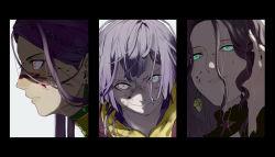 3girls, 91007, bernadetta von varley, black border, blood, blood on face, blue eyes, border, braid, brown hair, closed mouth, dorothea arnault, earrings, fire emblem, fire emblem: three houses, hand in hair, jewelry, long hair, looking at viewer, multiple girls, nintendo, parted lips, petra macneary, pink eyes, portrait, profile, purple hair, red eyes, short hair, sweatdrop, v-shaped eyebrows