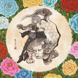 1girl, animal ears, ankle boots, belt, black jacket, black shirt, boots, character name, claws, crop top, flower, full body, fur, fur-trimmed jacket, fur trim, grey hair, highres, hololive, inkan, jacket, lion, lion ears, lion girl, lion mane, looking at viewer, miniskirt, navel, off-shoulder jacket, on animal, parody, paws, peony (flower), rose, round image, shibe, shirt, shishiro botan, single leg pantyhose, skirt, solo, style parody, sumi-e, tail, torn clothes, torn legwear, virtual youtuber, white stripes, whorled hair