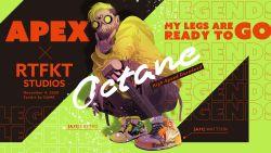 1boy, \n/, air jordan, air jordan 1, apex legends, artist name, black shorts, character name, copyright name, dame (dame ice), dated, gloves, green eyes, green hair, green hoodie, grey gloves, hair behind ear, highres, hood, hoodie, looking at viewer, male focus, mask, mouth mask, octane (apex legends), shoes, shorts, sneakers, solo, squatting
