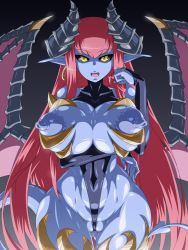 Rule 34 | 1girl, black sclera, blue skin, breasts, cleft of venus, colored sclera, colored skin, covered erect nipples, demon girl, demon tail, earrings, fang, hair twirling, highres, horns, jewelry, large breasts, leotard, long hair, mimizu (tokagex), open mouth, pink hair, pointy ears, red hair, shiny, shiny skin, solo, tail, thong leotard, very long hair, wedgie, wings, yellow eyes