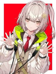 1girl, absurdres, arknights, blush, border, brown eyes, closed mouth, coat, hair ornament, highres, hood, hood down, huge filesize, kabi (zcwd8845), long sleeves, looking at viewer, necktie, one side up, open clothes, open coat, outside border, red background, red neckwear, scene (arknights), short hair, silver hair, simple background, spread fingers, unbuttoned, upper body, white border, white coat