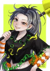 1girl, artist name, bangs, black shirt, black skirt, blue eyes, blush, bow, breasts, chains, collarbone, commentary request, crop top, ear piercing, earrings, green background, grey hair, grin, hand on hip, hand up, highres, himemushi momoyo, holding, holding shovel, hoshiringo0902, jewelry, long hair, looking at viewer, medium breasts, midriff, navel, orange bow, parted bangs, piercing, ponytail, ring, sharp teeth, shirt, shovel, simple background, skirt, smile, solo, teeth, touhou, uneven eyes, upper body, very long hair