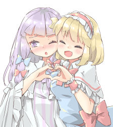 2girls, :o, alice margatroid, arnest, bangs, blonde hair, blue bow, blue dress, blunt bangs, blush, bob cut, bow, bowtie, bright pupils, capelet, commentary request, crescent, crescent hair ornament, dress, embarrassed, frilled hairband, frilled sleeves, frills, furrowed eyebrows, hair bow, hair ornament, hairband, happy, heart, heart hands, heart hands duo, highres, lolita hairband, long hair, long sleeves, looking away, looking to the side, multiple girls, no hat, no headwear, nose blush, one eye closed, open mouth, pajamas, patchouli knowledge, purple dress, purple eyes, purple hair, red bow, red hairband, red neckwear, red sash, sash, shiny, shiny hair, short hair, sideways glance, simple background, smile, striped, striped dress, touhou, vertical-striped dress, vertical stripes, white background, white capelet, white dress, white pajamas, white pupils, wide sleeves, wing collar, wrist cuffs