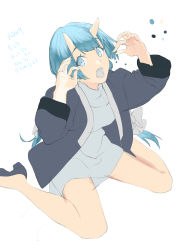 1girl, absurdres, bangs, black footwear, blue eyes, blue hair, blue oni, bow, dress, eyebrows visible through hair, fangs, fingernails, flat color, hair bow, highres, horns, jacket, kojy, long fingernails, long hair, looking at viewer, low twintails, oni, oni horns, open clothes, open jacket, open mouth, original, ribbed sweater, sharp fingernails, sitting, sketch, skin-covered horns, solo, sweater, sweater dress, twintails, very long hair, wariza, white sweater