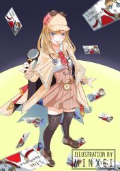 1girl, beige coat, beige headwear, blush, brown footwear, brown legwear, closed mouth, coat, film grain, green eyes, hat, holding, holding magnifying glass, hololive, hololive english, long hair, magnifying glass, minxei, necktie, photo (object), pink lips, plaid, pocket watch, red neckwear, solo, standing, stethoscope, thighhighs, virtual youtuber, watch, watson amelia