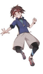 1boy, absurdres, bodysuit, bright pupils, brown eyes, brown hair, clenched hand, clenched teeth, commentary request, creatures (company), full body, game freak, grey shorts, grin, highres, jacket, looking at viewer, male focus, multicolored, multicolored bodysuit, multicolored clothes, nate (pokemon), nintendo, odd (hin yari), pokemon, pokemon (game), pokemon bw2, red headwear, shoes, short sleeves, shorts, simple background, smile, solo, spread fingers, teeth, visor cap, white background, zipper pull tab