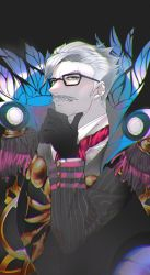 1boy, black-framed eyewear, black background, black gloves, chromatic aberration, epaulettes, facial hair, fate/grand order, fate (series), glasses, gloves, grey hair, hand on own chin, highres, james moriarty (fate), jpeg artifacts, long sleeves, male focus, mustache, old, old man, pale skin, red neckwear, short hair, solo, striped suit, trstfx (lina), upper body