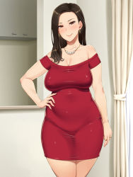 Rule 34 | 1girl, bare shoulders, bijin oba-san no oikko check, black hair, blush, breasts, brown eyes, cleavage, closed mouth, cowboy shot, curtains, curvy, dress, earrings, erect nipples, female focus, hair over shoulder, hand on hip, highres, indoors, jewelry, large breasts, legs, legs together, light blush, long hair, looking at viewer, lots of jewelry, necklace, off shoulder, original, pearl necklace, red dress, ring, shikuta maru, smile, solo, standing, thighs, wedding ring