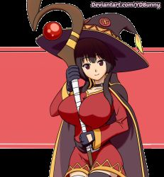 Rule 34 | 1girl, animated, animated gif, between breasts, breast expansion, breasts, bursting breasts, hat, huge breasts, kono subarashii sekai ni shukufuku wo!, looking at viewer, megumin, nipples, one eye closed, staff, torn clothes, wink, witch hat, ydbunny