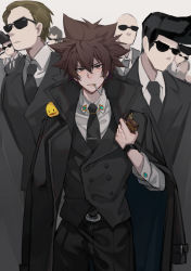 6+boys, absurdres, alternate costume, animal, animal on shoulder, bald, bangs, belt, belt buckle, bird, bird on shoulder, black belt, black coat, black hair, black jacket, black neckwear, black pants, black vest, boss, brown eyes, brown hair, buckle, cigarette, closed mouth, coat, collar, collared shirt, crowd, formal, hibird, highres, holding, holding lighter, jacket, jacket on shoulders, katekyo hitman reborn!, lighter, long sleeves, looking at viewer, mafia, male focus, mouth hold, multiple boys, necktie, no mouth, open clothes, open coat, out of character, pants, pompadour, sawada tsunayoshi, serious, shirt, short hair, spiked hair, standing, suit, sunglasses, vest, white shirt, wuhuohuohuo
