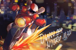 1boy, armor, arms up, black bodysuit, blurry, blurry background, bodysuit, boots, breastplate, character name, chikichi, chromatic aberration, city lights, english text, gloves, ground vehicle, helmet, highres, jpeg artifacts, knee boots, male focus, motor vehicle, motorcycle, motorcycle helmet, nitroman, red gloves, red headwear, riding, road, rockman, rockman 10, shoulder armor, solo, sparks, vambraces, visor, white footwear