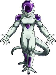 10s, 1boy, alien, colored skin, dragon ball, dragon ball fighterz, dragon ball super, frieza, full body, halo, highres, looking at viewer, muscular, nail polish, official art, purple nails, red eyes, smile, solo, tail, transparent background, white skin