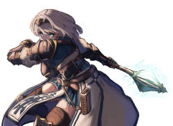 1girl, absurdres, armor, belt, belt pouch, black hairband, black legwear, blue skirt, boots, braid, breasts, brown belt, chest guard, cowboy shot, determined, fighting stance, french braid, gauntlets, greaves, green eyes, hairband, highres, holding, holding weapon, hololive, hololive fantasy, inre kemomimi, knee up, large breasts, leather belt, leg up, looking at viewer, mace, miniskirt, pouch, shirogane noel, short hair, shoulder armor, silver hair, simple background, skindentation, skirt, solo, spaulders, thighhighs, thighhighs under boots, virtual youtuber, waist cape, weapon, white background
