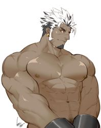 1boy, abs, bara, black hair, character request, check copyright, copyright request, cuffs, dark skin, dark skinned male, ear piercing, facial hair, goatee, gomtang, handcuffs, large pectorals, long sideburns, male focus, male pubic hair, mature male, multicolored hair, muscular, muscular male, navel, navel hair, nipples, nude, original, piercing, pubic hair, scar on arm, short hair, sideburns, smile, solo, stomach, two-tone hair, upper body, white hair