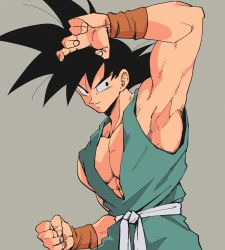 1boy, arm up, armpits, bare arms, black eyes, black hair, clenched hand, closed mouth, commentary request, copyright request, dougi, dragon ball, grey background, kz (dbz kz), looking to the side, male focus, muscular, muscular male, pectorals, sash, sideways glance, simple background, sleeveless, smile, solo, son gokuu, spiked hair, upper body, wristband