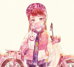 1girl, arm at side, bangs, bicycle, brown hair, bubble blowing, chewing gum, collarbone, d.va (overwatch), earrings, eyelashes, ground vehicle, hand in pocket, jacket, jewelry, long hair, long sleeves, looking at viewer, open clothes, open jacket, overwatch, purple shirt, rrrpct, shirt, solo, symbol commentary, traditional media, watercolor (medium)