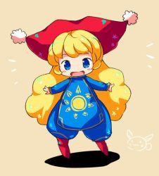 1girl, blonde hair, blue eyes, charlotte (seiken densetsu 3), child, curly hair, hat, open mouth, rabbit, seiken densetsu, seiken densetsu 3, solo, square enix