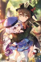 2girls, bead necklace, beads, black nails, braid, braided ponytail, brown hair, crying, day, dress, elise (piclic), genshin impact, hat, highres, hu tao, hug, hug from behind, jewelry, jiangshi, long sleeves, multiple girls, nail polish, necklace, outdoors, purple eyes, purple hair, qiqi (genshin impact), red eyes, shorts, smile, socks, sunlight, symbol-shaped pupils, tears, thighhighs, tree, twintails, wide sleeves