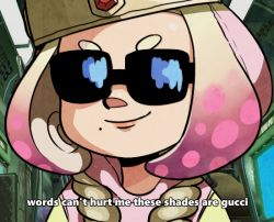 1girl, bangs, black-framed eyewear, blurry, closed mouth, commentary, depth of field, english commentary, english text, face, facing viewer, gem, glasses, gucci, inkling, mole, mole under mouth, nintendo, opaque glasses, parody request, pearl (splatoon), pie (aipiepi), pink hair, portrait, short eyebrows, short hair, smile, solo, splatoon (series), splatoon 2, subtitled, sunglasses, tentacle hair, thick eyebrows, yellow headwear