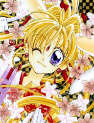 1990s (style), 1girl, animal ears, blonde hair, bunny ears, checkered, checkered background, cherry blossoms, close-up, closed mouth, earrings, extra ears, face, fan, flower, gloves, hair intakes, hair ribbon, highres, holding, holding fan, jewelry, kaitou jeanne, kamikaze kaitou jeanne, kusakabe maron, long hair, looking at viewer, magical girl, official art, one eye closed, pointing, ponytail, purple eyes, red ribbon, retro artstyle, ribbon, scan, smile, solo, tanemura arina, white gloves
