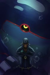 1boy, air bubble, anchor necklace, archie (pokemon), bandanna, beard, brown hair, bubble, commentary request, creatures (company), crossed arms, dark skin, dark skinned male, facial hair, game freak, gen 3 pokemon, glowing, highres, kyogre, legendary pokemon, looking at viewer, male focus, muscular, muscular male, nintendo, parted lips, pokemon, pokemon (creature), pokemon (game), pokemon oras, ryker, smile, team aqua, wetsuit, yellow eyes