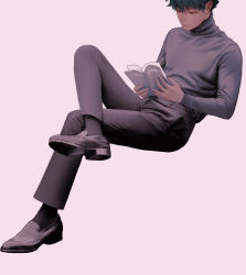 1boy, absurdres, black footwear, black hair, black legwear, black pants, boku no hero academia, book, closed mouth, freckles, full body, green hair, grey shirt, highres, holding, holding book, invisible chair, knee up, long sleeves, looking at viewer, male focus, midoriya izuku, open book, pants, pink background, reading, shirt, shoes, short hair, simple background, sitting, solo, sweater, turtleneck, wengwengchim