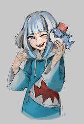 1girl, black eyes, bloop (gawr gura), blue hair, blush, cropped torso, gawr gura, grey background, highres, hololive, hololive english, hood, hoodie, looking down, looking to the side, mohrefa, multicolored hair, one eye closed, open hands, open mouth, scar, sharp teeth, silver hair, sketch, smile, solo focus, streaked hair, tearing up, teeth, virtual youtuber