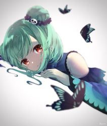 1girl, bangs, bare shoulders, blue dress, blush, breasts, bug, butterfly, detached sleeves, double bun, dress, eyebrows visible through hair, green hair, hair ornament, hair ribbon, highres, hololive, insect, jewelry, long hair, looking at viewer, open mouth, red eyes, ribbon, short hair, sidelocks, skull hair ornament, solo, uruha rushia, virtual youtuber, white background