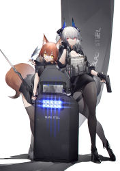 2girls, absurdres, animal ears, arknights, black skirt, commentary request, fox ears, fox tail, franka (arknights), highres, horns, liskarm (arknights), long hair, multiple girls, pantyhose, pencil skirt, red eyes, riot shield, shield, silver hair, simple background, skirt, tail, thighs, white background, yellow eyes, yushi ketsalkoatl