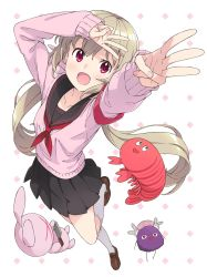 1girl, black sailor collar, black skirt, blush, cardigan, from above, full body, highres, kanzaki hiro, light brown hair, loafers, long hair, long sleeves, looking at viewer, miniskirt, nail polish, natori sana, open mouth, pink cardigan, pink nails, pleated skirt, red eyes, red neckwear, saana-kun, sailor collar, sana channel, school uniform, shoes, skirt, smile, solo, standing, twintails, virtual youtuber, w