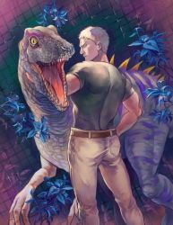 1boy, ass, back, beige pants, dinosaur, feet out of frame, from behind, green shirt, leather belt, looking back, male focus, non (nikonikooon), reiner braun, shingeki no kyojin, shirt, short hair, short sleeves, sideburns, solo, tight, tight shirt, toned, toned male