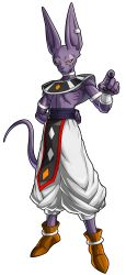 1boy, absurdres, animal ears, arm behind back, armlet, beerus, black eyes, cat boy, cat ears, claws, dragon ball, dragon ball fighterz, dragonball z, egyptian clothes, from below, highres, jewelry, male focus, official art, recolored, ribs, shimura kenshirou, single earring, smile, solo, standing, tail, wrist cuffs