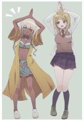 2girls, ;d, akamatsu kaede, arms up, bangs, bikini, black legwear, blonde hair, blue eyes, bra, breasts, cleavage, collarbone, commentary request, danganronpa (series), danganronpa v3: killing harmony, dark skin, front-tie bikini, front-tie top, full body, ganguro, hair ornament, highres, jacket, jewelry, kneehighs, long hair, looking at viewer, medium breasts, multiple girls, navel, necktie, one eye closed, open mouth, pleated skirt, shell necklace, shoes, skirt, smile, standing, stomach, sweat, sweater vest, swimsuit, twintails, underwear, upper teeth, usirome, white hair, yonaga angie
