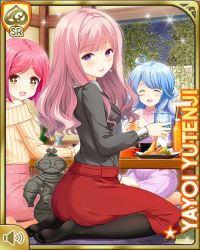 3girls, :d, alcohol, beer, breasts, card, chair, character name, dress, eyebrows visible through hair, eyes closed, gift, girlfriend (kari), indoors, jewelry, kneeling, looking at viewer, medium breasts, medium hair, multiple girls, necklace, night, office, official art, open mouth, pink hair, purple eyes, qp:flapper, red dress, shirt, smile, table, tachibana kyouko (girlfriend (kari)), tagme, teacher, yutenji yayoi
