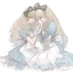 alice (wonderland), alice in wonderland, apron, back bow, black bow, black stripes, blonde hair, blue eyes, bow, breasts, closed mouth, dress, eyelashes, from side, hair bow, highres, interlocked fingers, juliet sleeves, large bow, long hair, long sleeves, looking at viewer, medium breasts, muted color, profile, puffy short sleeves, puffy sleeves, ray (mea), short sleeves, signature, simple background, sitting, striped, striped sleeves, vertical-striped dress, vertical stripes, very long hair, wavy hair, white apron, white background, white bow