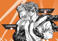 2boys, alternate costume, aviator cap, battle tendency, bomber jacket, buttons, caesar anthonio zeppeli, character name, chinese commentary, cigarette, closed mouth, collared shirt, commentary request, contemporary, dog tags, dress shirt, facial mark, fur-trimmed jacket, fur trim, gloves, goggles, goggles on head, goggles on headwear, halftone, hands in pockets, jacket, jacket over shoulder, jojo no kimyou na bouken, joseph joestar (young), light blue eyes, looking at viewer, looking to the side, male focus, mouth hold, multiple boys, multiple sources, necktie, orange background, partially colored, partially unzipped, shirt, short hair, sideways glance, sleeves rolled up, star (symbol), sunglasses, tie clip, upper body, watch, wristwatch, xing xiao