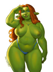 Rule 34   1girl, absurdres, areolae, belly, big nose, blue eyes, blue panties, breasts, colored skin, commentary, contrapposto, dark areolae, dark nipples, english commentary, female orc, green skin, highres, jewelry, large areolae, large breasts, lips, locket, long hair, lukas klaudat, navel, necklace, nipples, orange hair, orc, panties, pendant, plump, pointy ears, princess fiona, shading eyes, shrek (series), sidelighting, solo, standing, thick eyebrows, thick thighs, thighs, topless, twitter username, underwear, white background