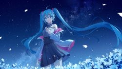 1girl, ahoge, bangs, blue eyes, blue hair, blue skirt, collar, commentary request, crying, crying with eyes open, eyebrows visible through hair, field, flower, flower field, frilled collar, frills, hatsune miku, high-waist skirt, jacket, long hair, long sleeves, mimengfeixue, night, night sky, off shoulder, open clothes, open jacket, petals, pleated skirt, print jacket, print shirt, print skirt, shirt, skirt, sky, sleeveless, sleeveless shirt, solo, standing, star (sky), starry sky, starry sky print, tears, twintails, two-sided fabric, two-sided jacket, very long hair, vocaloid, white collar, white flower, white jacket, white shirt