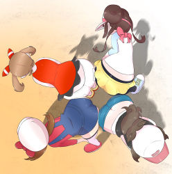 Rule 34 | 4girls, ass, ass-to-ass, ass press, bare shoulders, baseball cap, brown hair, butt crack, cabbie hat, creatures (company), double bun, from above, game freak, hat, hilda (pokemon), leaning, leaning forward, long hair, low twintails, lyra (pokemon), may (pokemon), microsd, multiple girls, nintendo, pantyhose, pokemon, pokemon (game), pokemon bw, pokemon bw2, pokemon hgss, pokemon oras, ponytail, rosa (pokemon), shiny, shiny clothes, shiny hair, shiny skin, short hair with long locks, short shorts, shorts, thighhighs, twintails