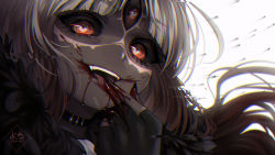 1girl, bangs, black choker, black gloves, black nails, black sclera, blood, blood on face, blood on fingers, bloody hands, choker, close-up, colored sclera, colored skin, commentary, distortion, english commentary, evil smile, facial tattoo, fangs, fingerless gloves, gloves, grey skin, happy, horror (theme), licking blood, long hair, nail polish, orange eyes, original, parted bangs, ringed eyes, silver hair, smile, solo, tattoo, third eye, tongue, tongue out, vampire, votan (yoclesh), white background, yoclesh