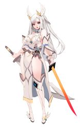 1girl, absurdres, bangs, bare shoulders, boots, breasts, brown eyes, cleavage, detached sleeves, dress, dress bow, dual wielding, earrings, highres, holding, holding sword, holding weapon, jewelry, katana, knee boots, large breasts, long hair, looking at viewer, open mouth, original, pelvic curtain, ponytail, scimitar, sidelocks, silver hair, simple background, solo, standing, swept bangs, sword, thick thighs, thighs, weapon, white background, white dress, white footwear, wing hair ornament, winged footwear, zerocat
