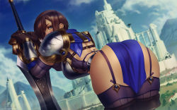 1girl, armor, artist name, ass, black gloves, blue eyes, boots, breastplate, breasts, brown hair, castle, commentary, dated, garen crownguard, garter straps, genderswap, genderswap (mtf), gloves, highres, league of legends, leaning forward, looking back, purple legwear, shoulder armor, signature, solo, sword, themaestronoob, thick thighs, thigh boots, thighhighs, thighs, weapon