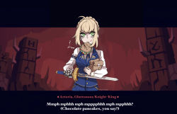 1girl, ahoge, artist name, artoria pendragon (all), bag, bangs, blue neckwear, blue skirt, blue sweater vest, blush, braid, breasts, character name, commentary, dialogue box, eating, english text, excalibur (fate/stay night), eyebrows visible through hair, fake screenshot, fate/stay night, fate (series), food, gauntlets, green eyes, helltaker, highres, holding, holding bag, holding sword, holding weapon, large breasts, long sleeves, looking at viewer, lucerna lunam, necktie, parody, saber, shirt, short hair, sidelocks, single gauntlet, skirt, style parody, sword, vanripper (style), visual novel, weapon, white shirt